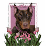 Mothers Day - Pink Tulips - Doberman - Red - Rocky Photo Sculptures