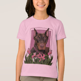 Mothers Day - Pink Tulips - Doberman - Red - Rocky T-Shirt