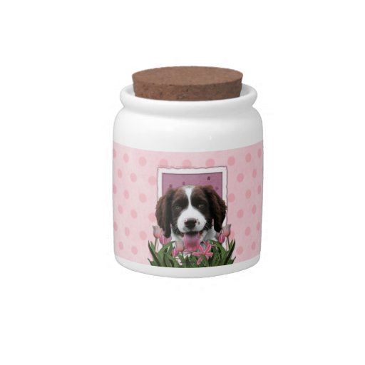 Mothers Day - Pink Tulips English Springer Spaniel Candy Jar