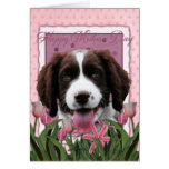 Mothers Day - Pink Tulips English Springer Spaniel Greeting Card