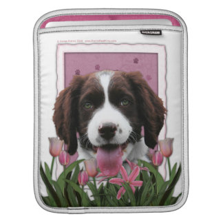 Mothers Day - Pink Tulips English Springer Spaniel iPad Sleeve
