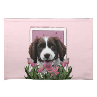 Mothers Day - Pink Tulips English Springer Spaniel Placemat