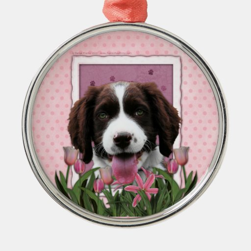 Mothers Day - Pink Tulips English Springer Spaniel Round Metal Christmas Ornament