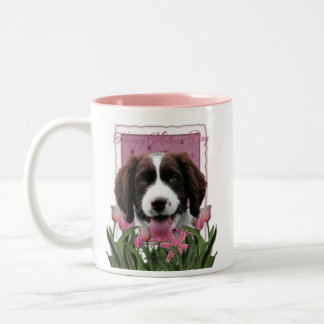 Mothers Day - Pink Tulips English Springer Spaniel Two-Tone Coffee Mug