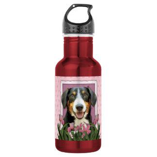 Mothers Day - Pink Tulips Entlebucher Mountain Dog 18oz Water Bottle