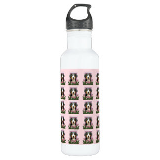 Mothers Day - Pink Tulips Entlebucher Mountain Dog 24oz Water Bottle