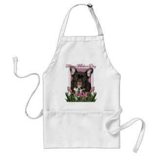 Mothers Day - Pink Tulips - French Bulldog - Teal Apron