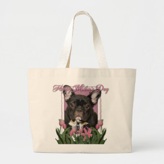 Mothers Day - Pink Tulips - French Bulldog - Teal Canvas Bag