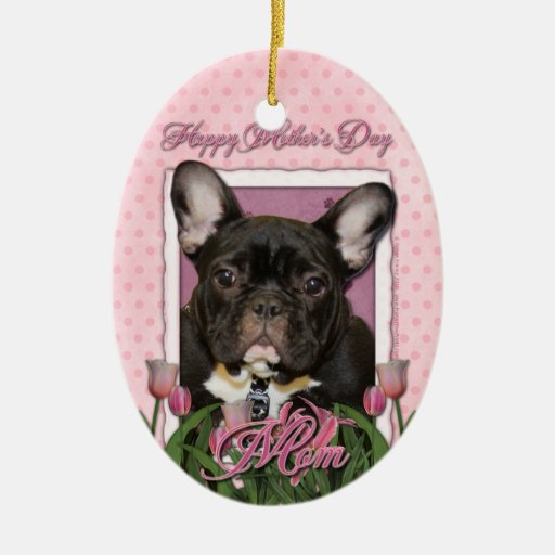 Mothers Day - Pink Tulips - French Bulldog - Teal Double-Sided Oval Ceramic Christmas Ornament