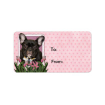 Mothers Day - Pink Tulips - French Bulldog - Teal Label