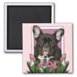 Mothers Day - Pink Tulips - French Bulldog - Teal Refrigerator Magnets