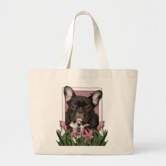 Mothers Day - Pink Tulips - Frenchie - Teal Tote Bag
