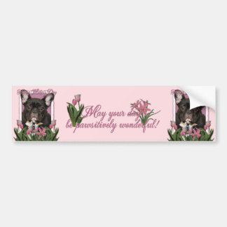 Mothers Day - Pink Tulips - Frenchie - Teal Car Bumper Sticker