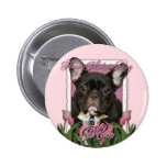 Mothers Day - Pink Tulips - Frenchie - Teal Buttons
