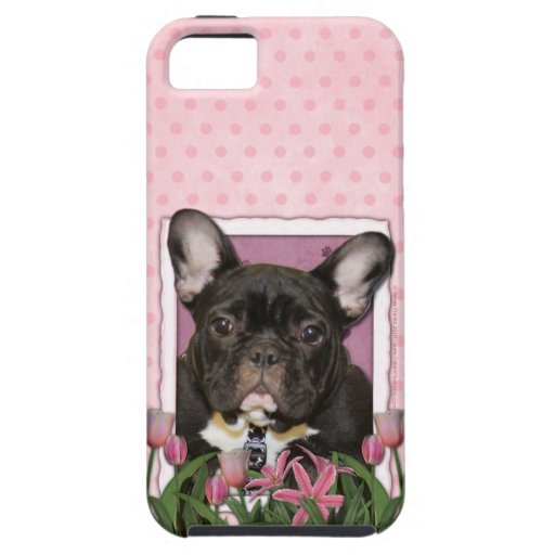Mothers Day - Pink Tulips - Frenchie - Teal iPhone 5 Covers