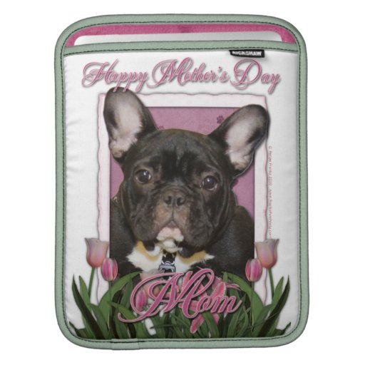 Mothers Day - Pink Tulips - Frenchie - Teal iPad Sleeve