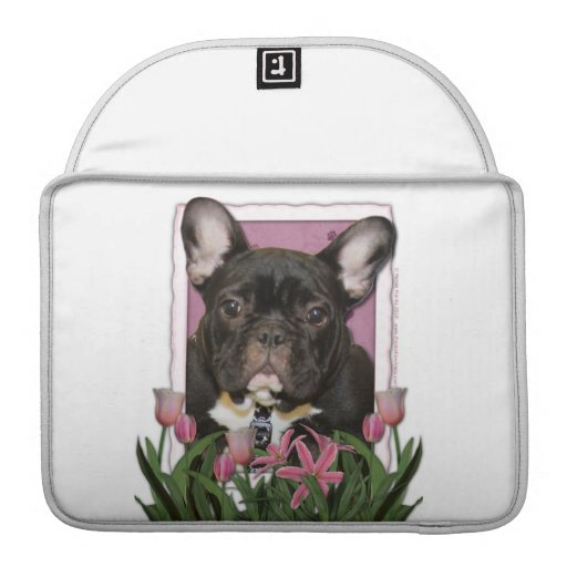 Mothers Day - Pink Tulips - Frenchie - Teal Sleeve For MacBooks