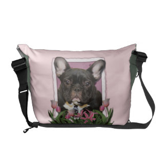 Mothers Day - Pink Tulips - Frenchie - Teal Courier Bag