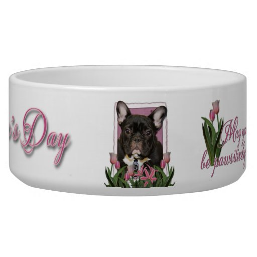 Mothers Day - Pink Tulips - Frenchie - Teal Dog Food Bowl