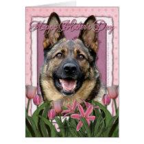 Mothers Day - Pink Tulips - German Shepherd Card