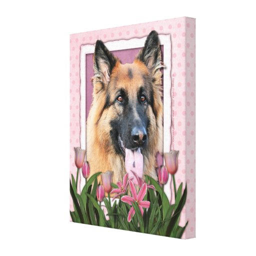 Mothers Day - Pink Tulips  -German Shepherd Chance Canvas Print
