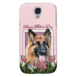 Mothers Day - Pink Tulips - German Shepherd Chance Galaxy S4 Cases