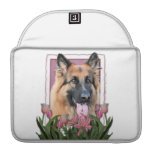 Mothers Day - Pink Tulips  -German Shepherd Chance MacBook Pro Sleeve
