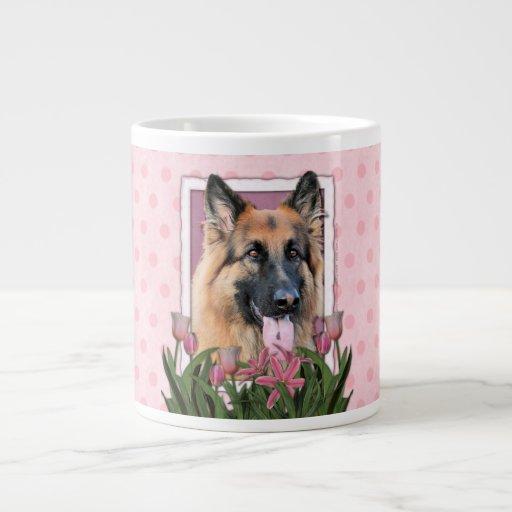 Mothers Day - Pink Tulips  -German Shepherd Chance Jumbo Mug