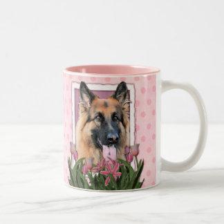 Mothers Day - Pink Tulips - German Shepherd Chance Two-Tone Coffee Mug