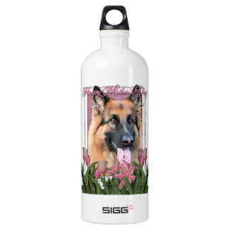 Mothers Day - Pink Tulips - German Shepherd Chance Water Bottle