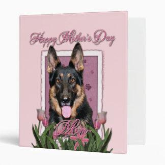 Mothers Day - Pink Tulips - German Shepherd - Kuno 3 Ring Binder
