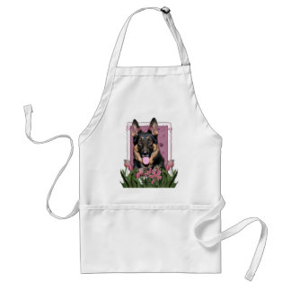 Mothers Day - Pink Tulips - German Shepherd - Kuno Adult Apron