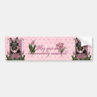 Mothers Day - Pink Tulips - German Shepherd - Kuno Bumper Sticker