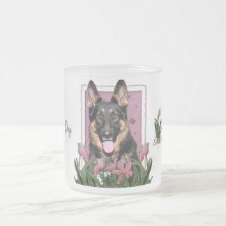 Mothers Day - Pink Tulips - German Shepherd - Kuno Frosted Glass Coffee Mug