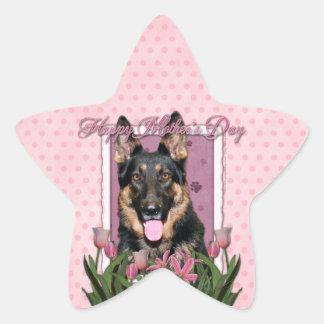 Mothers Day - Pink Tulips - German Shepherd - Kuno Star Sticker