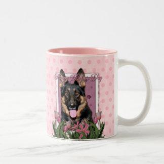 Mothers Day - Pink Tulips - German Shepherd - Kuno Two-Tone Coffee Mug