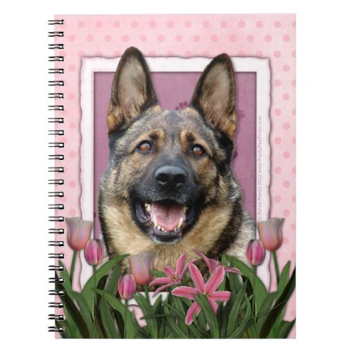 Mothers Day - Pink Tulips - German Shepherd Spiral Note Books