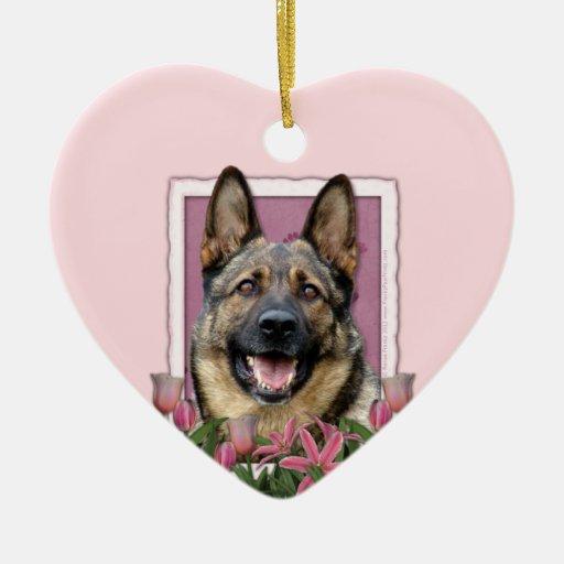 Mothers Day - Pink Tulips - German Shepherd Ornament