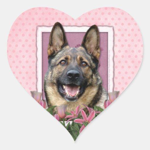 Mothers Day - Pink Tulips - German Shepherd Stickers