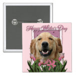 Mothers Day - Pink Tulips - Golden Retriever Pinback Buttons