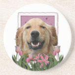 Mothers Day - Pink Tulips - Golden Retriever Drink Coasters