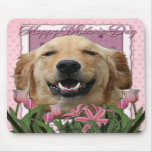 Mothers Day - Pink Tulips -Golden Retriever Mickey Mousepads