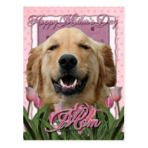 Mothers Day - Pink Tulips -Golden Retriever Mickey Postcard