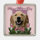 Mothers Day - Pink Tulips -Golden Retriever Mickey Square Metal Christmas Ornament