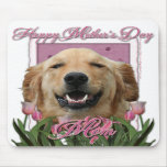 Mothers Day - Pink Tulips - Golden Retriever Mousepads