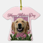 Mothers Day - Pink Tulips - Golden Retriever Ornaments