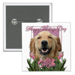 Mothers Day - Pink Tulips - Golden Retriever Pins