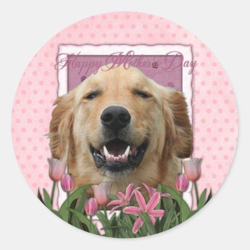Mothers Day - Pink Tulips - Golden Retriever Sticker