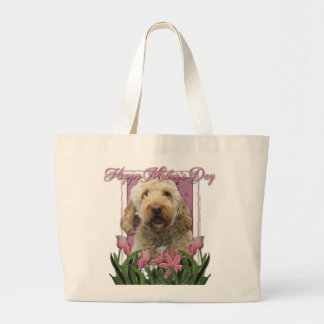 Mothers Day - Pink Tulips - Goldendoodle Canvas Bags