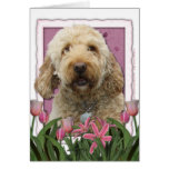 Mothers Day - Pink Tulips - GoldenDoodle Greeting Card